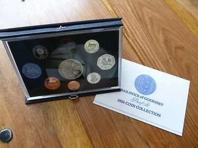1986 Royal Mint Guernsey Proof Coin Set With Leaflet And Outer Card Box.