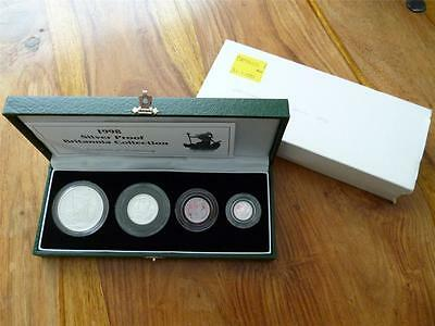 1998 Uk Britannia Cased Four Coin Silver Proof Set With C.o.a Free Uk Postage.