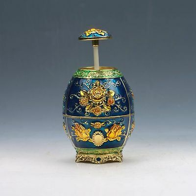 Chinese Exquisite Cloisonne Handwork Carved Flowers Toothpick Box G51