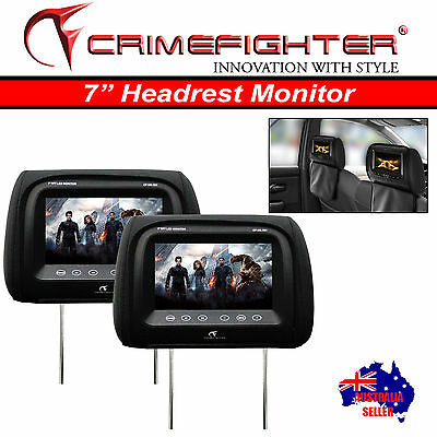 "CRIMEFIGHTER HR-701 BLACK 1 Pair Headrest 7"" Car Monitor Digital Screen Pillow"