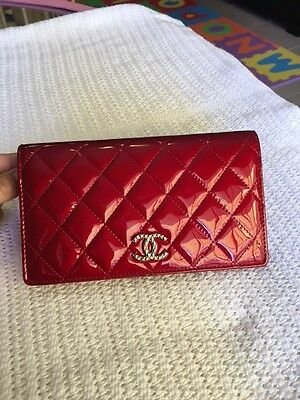 100% Authentic Brand New Chanel Flap Wallet Red Patent Leather