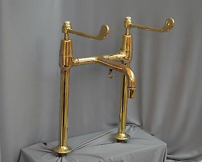 Brass  Deck Mounted Large Lever Mixer Taps Reclaimed Fully Refurbished Stunning