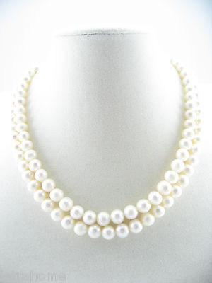"17"" 8mm White Real Cultured Freshwater Pearl Double Row Necklace Choker Chain"