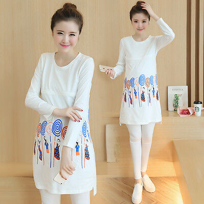 Women's Pregnant Long Sleeve Nursing Clothes Maternity Breastfeeding Dress Tops