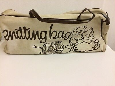 VINTAGE 1970's? Kitten Brown And Cream Canvas Knitting Needle Bag Knit Craft