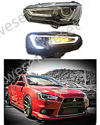 2008-2016 Headlight For Mitsubishi Lancer EVO Assembly LED DRL Q5 Projector