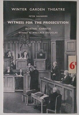 "Vintage  Prog 1953 - Winter Garden Theatre London/""witness For The Prosecution"""