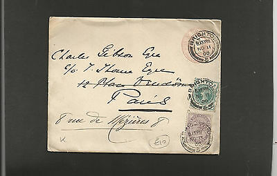 GB Postal Stationery    1900 1d pink envelope uprated to Paris and re-directed