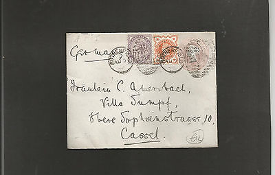 GB Postal Stationery    1898 1d pink envelope uprated Rotherfield to Germany
