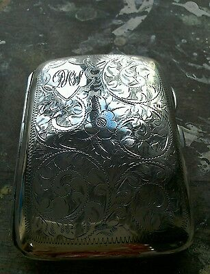 SILVER CIGARETTE CASE WITH INITIALS D H S ENGRAVED 1927c