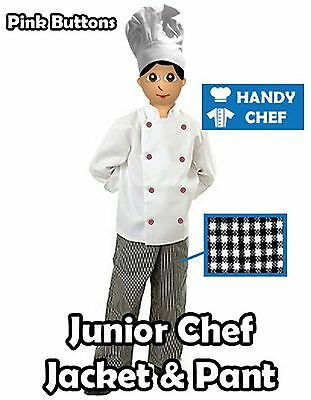Kids Chef Jacket and Chef Pant  - Kids Chef Costume - with Pink Buttons
