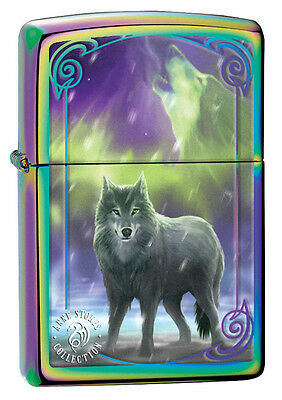 """Zippo Lighter """"Anne Stokes - Wolf"""" No 29348 - New on polished spectrum finish"""