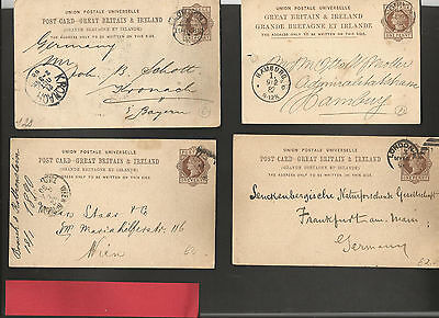 GB Postal Stationery   Four 1d Victorian PC Printed on reverse * Faults*