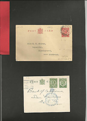 GB Postal Stationery  Two GVR Postcards with printer reverse