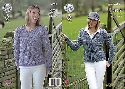 KINGCOLE 4625 LADIES ARAN KNITTING PATTERN  28 - 46IN -not the finished garments