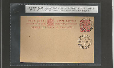 GB Postal Stationery 1915  CTO Forces Post Office - early use ?