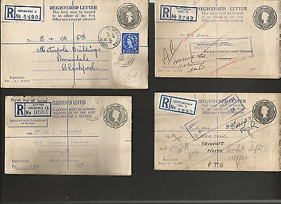 GB Postal Stationery QE2 Registered envelopes. One labeled First Day of Issue