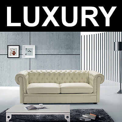 Loveseat - Leather Sofa - Quilted Couch - Beige - Chesterfield