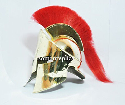King Spartan Helmet, 300 Movie Helmet, With Black FREE LEATHER LINER CHIN STRAP