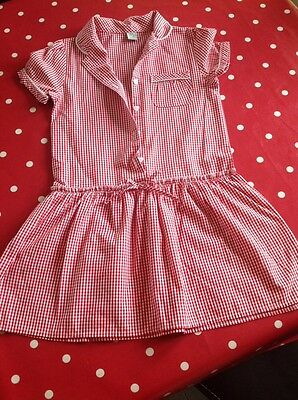 Girls Red And White Check Summer Dresse Age 7 Years