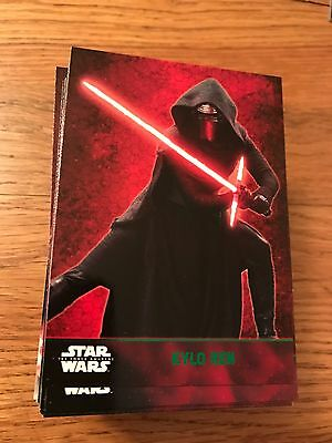 Star Wars The Force Awakens 100 Card Green Parallel Set Rey Kylo Ren BB8
