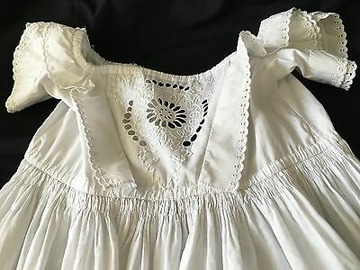 Beautiful Antique Victorian Embroidered White Work Lace Baby Christening Gown