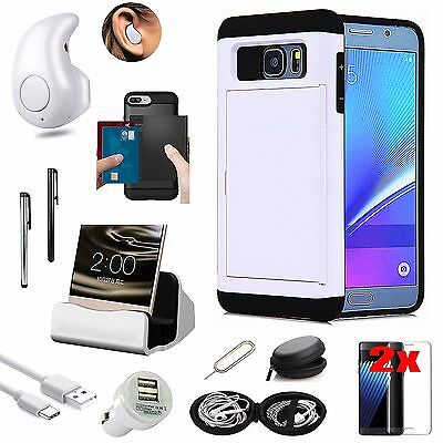 White Pocket Case Charger Bluetooth Headset Accessory For Samsung Galaxy S7 G930