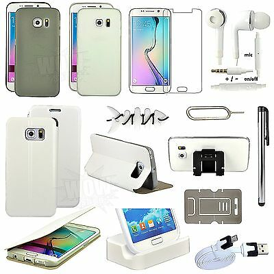 11 in 1 Accessory White Leather Case Cover Charger For Samsung Galaxy S6 Edge