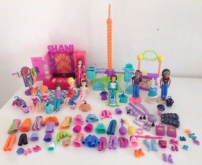Polly Pocket Fashion Dolls, Clothes, Accessories, Stands, Playset Bundle
