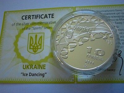 10 hryven  1 ounce 925 SILVER  2001 FIGURE SKATING