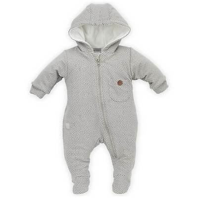 Baby Boy Pramsuit 95% Cotton Padded Hooded Grey White Size 0-3 3-6 6-9