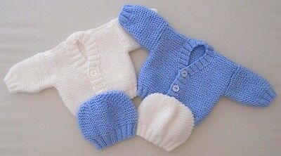 2 Pack 3-5lbs Boys Premature Tiny Baby Cardigan Hand Knitted Blue White Hats
