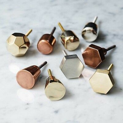 Gold Brass Hexagon Drawer Knobs Cabinet Pulls Door Handles Bombay Duck