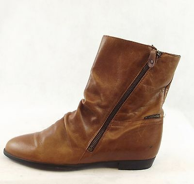 Ladies Russell&bromley Brown Leather Ankle Boots Size 6Uk
