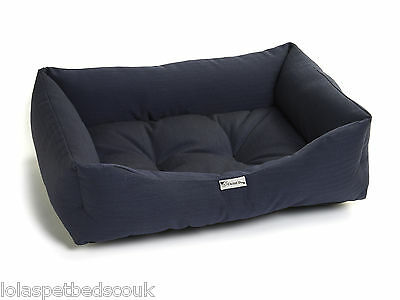 Chilli Dog Bed in Navy Blue Herringbone Durable & Washable