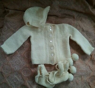 Vintage Yellow Baby Sweater Pom-Pom Booties Hat Knit MOP Buttons Doll Set