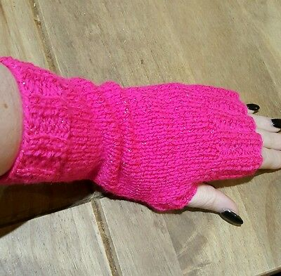 hand knitted ladies fingerless gloves  - pink with sparkle, one size