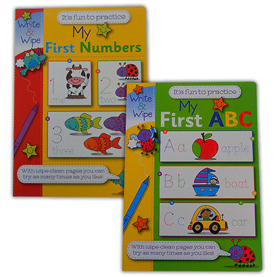 My First Numbers and My First ABC Books Set of 2 - Write and Wipe Teaching Kids