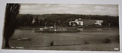 1950s Unposted B+W RPPC Bundeshaus and Maine Steamboat Bonn Germany Kessel Karte