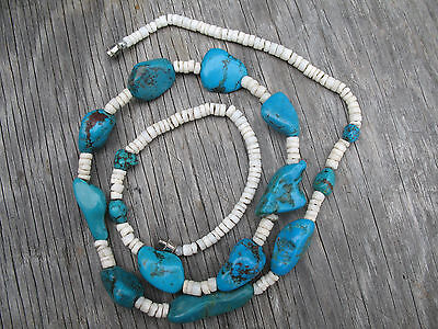 Turquoise Nugget Heishi Shell Beads Necklace Polished Rough Cut Stones Vintage