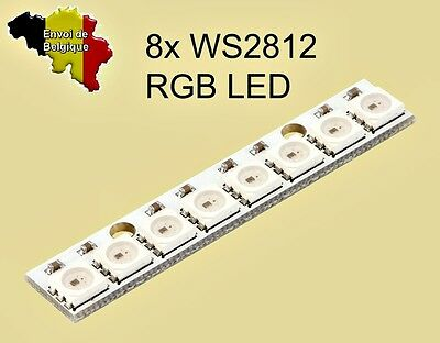Module 8x WS2812 RGB LED support blanc compatible NeoPixel Arduino board