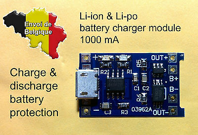 TP4056 DW01 chargeur 1A 5V protection batterie Lithium LiPo battery charger