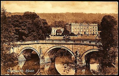 Vintage Chatsworth House Showing The Bridge And  River Unposted