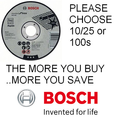 "Bosch 115mm 4.5"" x 22.23 x 1mm Thin Metal Inox Fast Cutting Discs Pks 10/25/100"