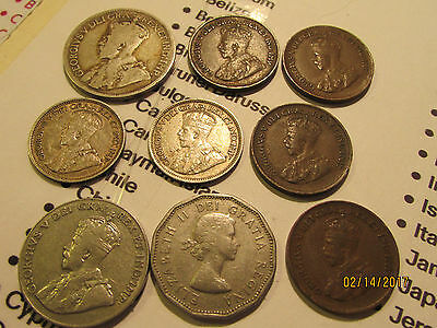 Lot of Canadian Vintage Coins....quarter, dimes, nickles & pennies! See Photo's!
