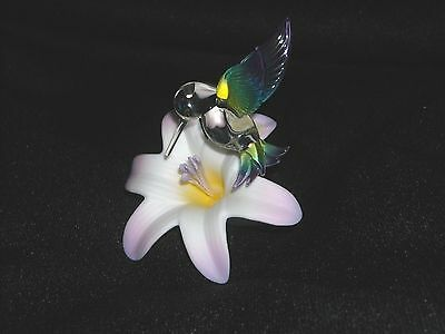 Blown Glass Hummingbird With Flower Figurine (7697)