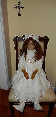 "Huge 34"" antique wax doll beautifully dressed and mohair wig haunting eyes"