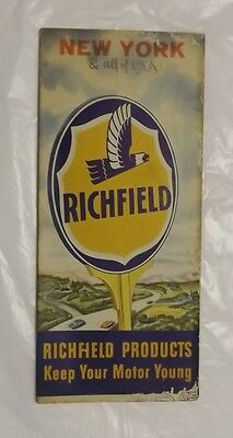1950 Richfield Oil Co Road Map New York and US