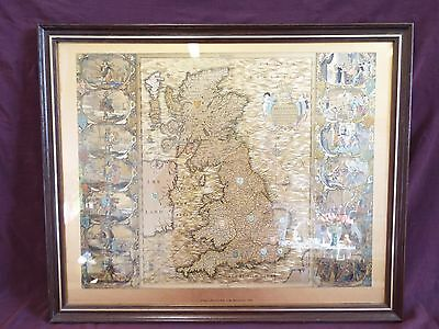 Vintage Joannes Jansson Gold Foil Map of the British Isles 1646 Reproduction