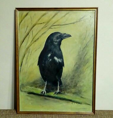 Vintage Oil Painting. CROW, RAVEN ,WICCA.SIGNED C.J. COLE.